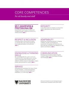 CORE COMPETENCIES. For all faculty and staff