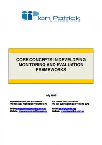 CORE CONCEPTS IN DEVELOPING MONITORING AND EVALUATION FRAMEWORKS