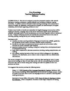Core Knowledge Teaching Beginning Reading Syllabus