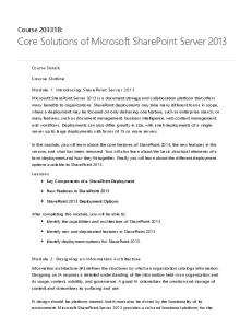 Core Solutions of Microsoft SharePoint Server 2013