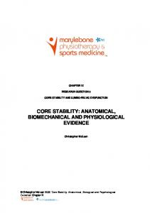 CORE STABILITY: ANATOMICAL, BIOMECHANICAL AND PHYSIOLOGICAL EVIDENCE
