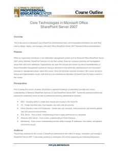 Core Technologies in Microsoft Office SharePoint Server 2007