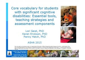 Core vocabulary for students with significant cognitive disabilities: Essential tools, teaching strategies and assessment components