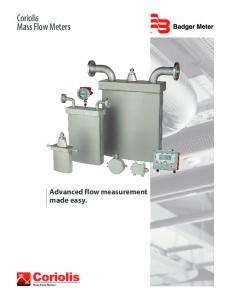 Coriolis Mass Flow Meters. Advanced flow measurement made easy