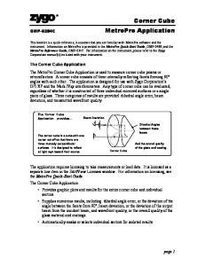 Corner Cube MetroPro Application
