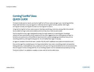Corning Gorilla Glass QUICK GUIDE
