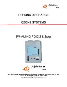 CORONA DISCHARGE OZONE SYSTEMS. SWIMMING POOLS & Spas