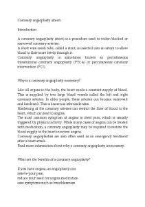Coronary angioplasty (stent) Introduction