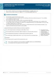 CORONATION TAX-FREE INVESTMENT APPLICATION FORM