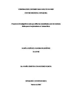 CORPORACION UNIVERSITARIA MINUTO DE DIOS CENTRO REGIONAL ZIPAQUIRA