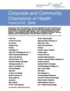 Corporate and Community Champions of Health Friend $100 - $999