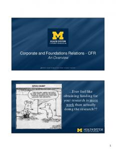 Corporate and Foundations Relations - CFR An Overview