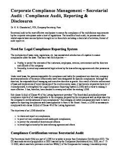 Corporate Compliance Management Secretarial Audit : Compliance Audit, Reporting & Disclosures