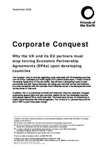 Corporate Conquest. Why the UK and its EU partners must stop forcing Economic Partnership Agreements (EPAs) upon developing countries