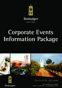 Corporate Events Information Package