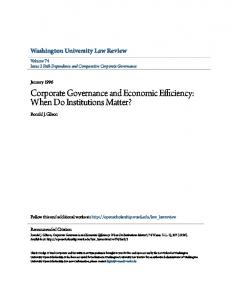 Corporate Governance and Economic Efficiency: When Do Institutions Matter?