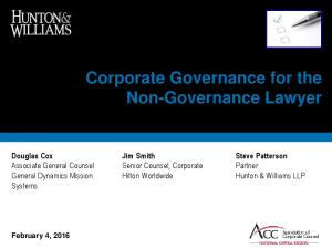 Corporate Governance for the Non-Governance Lawyer