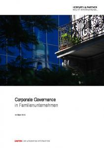 Corporate Governance in Familienunternehmen
