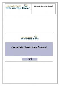 Corporate Governance Manual. Corporate Governance Manual