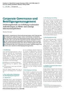 Corporate Governance und Beteiligungsmanagement