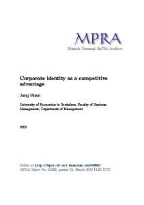 Corporate identity as a competitive advantage