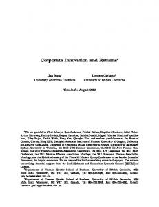Corporate Innovation and Returns