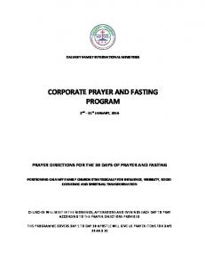CORPORATE PRAYER AND FASTING PROGRAM
