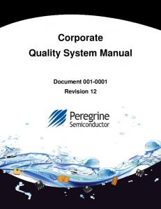 Corporate Quality System Manual Document Revision 12