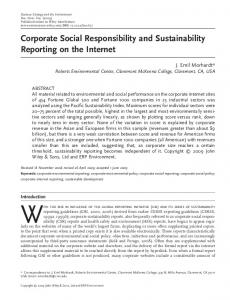 Corporate Social Responsibility and Sustainability Reporting on the Internet
