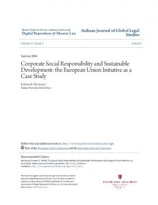 Corporate Social Responsibility and Sustainable Development: the European Union Initiative as a Case Study