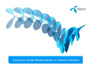 Corporate Social Responsibility at Telenor Pakistan
