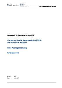 Corporate Social Responsibility (CSR) Der Bund als Vorbild?