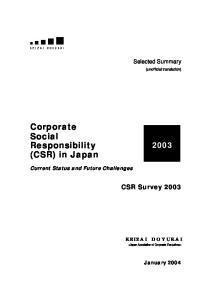 Corporate Social Responsibility (CSR) in Japan