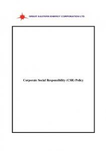 Corporate Social Responsibility (CSR) Policy