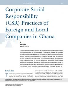 Corporate Social Responsibility (CSR) Practices of Foreign and Local Companies in Ghana