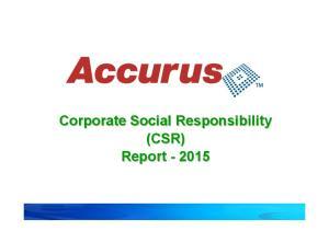 Corporate Social Responsibility (CSR) Report