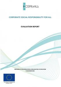 CORPORATE SOCIAL RESPONSIBILITY FOR ALL EVALUATION REPORT