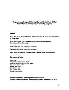 Corporate social responsibility in global health: the Pfizer Global Health Fellows international volunteering program