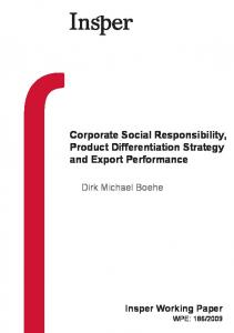 Corporate Social Responsibility, Product Differentiation Strategy and Export Performance
