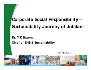 Corporate Social Responsibility Sustainability Journey of Jubilant