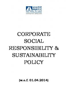 CORPORATE SOCIAL RESPONSIBILITY & SUSTAINABILITY POLICY