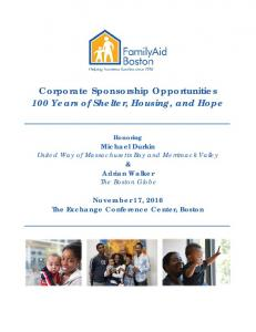 Corporate Sponsorship Opportunities 100 Years of Shelter, Housing, and Hope