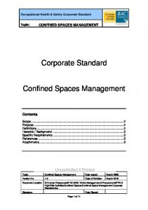 Corporate Standard. Confined Spaces Management