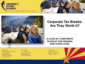 Corporate Tax Breaks: Are They Worth It? A LOOK AT CORPORATE TAXES AT THE FEDERAL AND STATE LEVEL