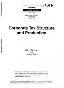 Corporate Tax Structure and Production