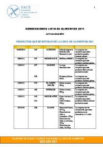 CORRECCIONES LISTA DE ALIMENTOS 2011 PRODUCTOS QUE SE RETIRAN DE LA LISTA DE ALIMENTOS 2011