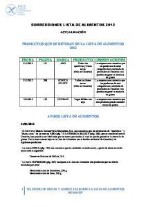 CORRECCIONES LISTA DE ALIMENTOS 2012 PRODUCTOS QUE SE RETIRAN DE LA LISTA DE ALIMENTOS 2012