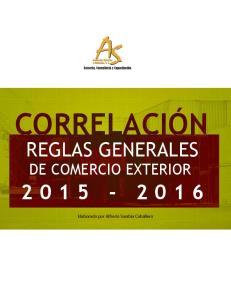 CORRELACIÓN REGLAS GENERALES DE COMERCIO EXTERIOR. Elaborado por Alfredo Sarabia Caballero