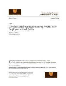 Correlates of Job Satisfaction among Private Sector Employees in Saudi Arabia