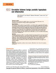 Correlation between benign prostatic hyperplasia and inflammation